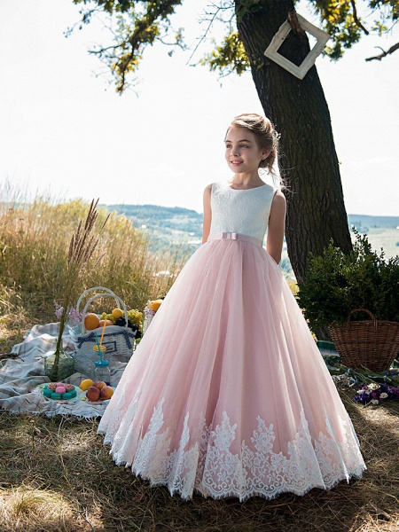 Princess Floor Length Party / Birthday / Pageant Flower Girl Dresses - Tulle / Cotton Sleeveless Jewel Neck With Lace / Belt / Appliques_1