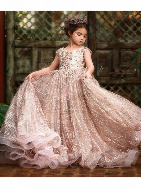 Ball Gown Sweep / Brush Train Wedding Flower Girl Dresses - Tulle Sleeveless Jewel Neck With Pick Up Skirt / Bow(S) / Solid_1