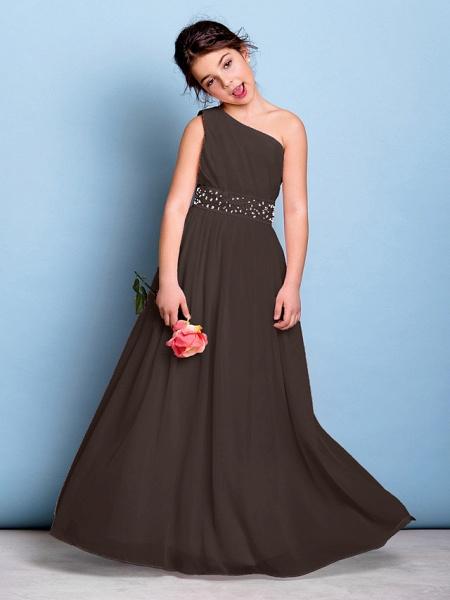 A-Line One Shoulder Floor Length Chiffon Junior Bridesmaid Dress With Sash / Ribbon / Beading / Side Draping / Natural_24