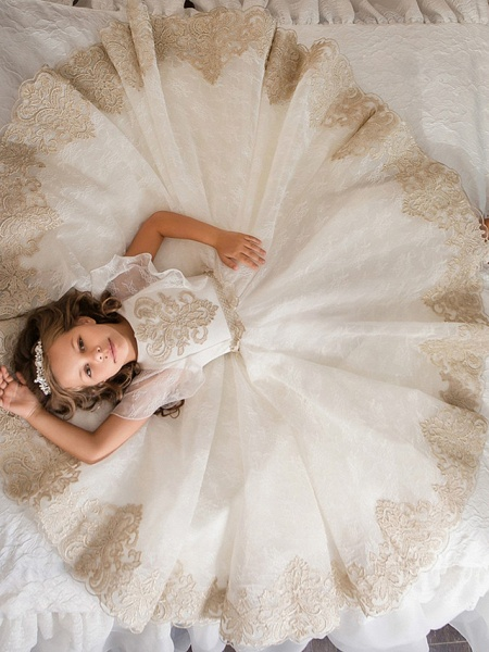Ball Gown Floor Length Wedding / Birthday / Pageant Flower Girl Dresses - Lace / Tulle / Cotton Short Sleeve Jewel Neck With Lace / Beading / Embroidery_3