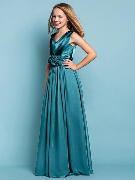 Sheath / Column V Neck Floor Length Chiffon Junior Bridesmaid Dress With Flower / Spring / Summer / Fall / Apple / Hourglass_49