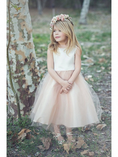 Princess / A-Line Knee Length Wedding / Party Flower Girl Dresses - Satin / Tulle Sleeveless Jewel Neck With Tier / Solid_1