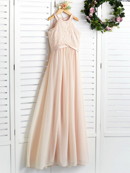 A-Line Crew Neck Floor Length Chiffon / Lace Junior Bridesmaid Dress With Lace / Sash / Ribbon_3