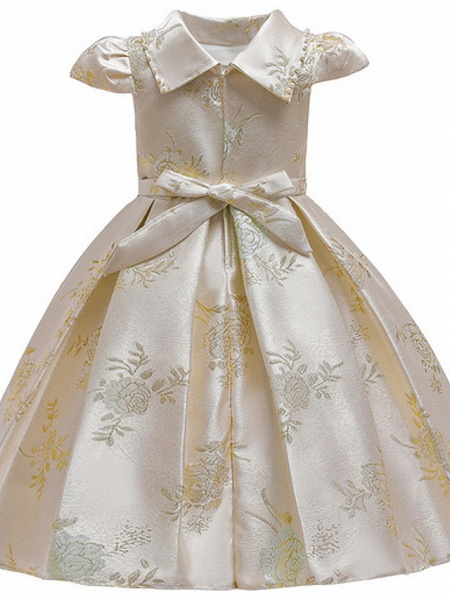 Ball Gown Ankle Length Pageant Flower Girl Dresses - Polyester Short Sleeve Jewel Neck With Bow(S) / Appliques_4