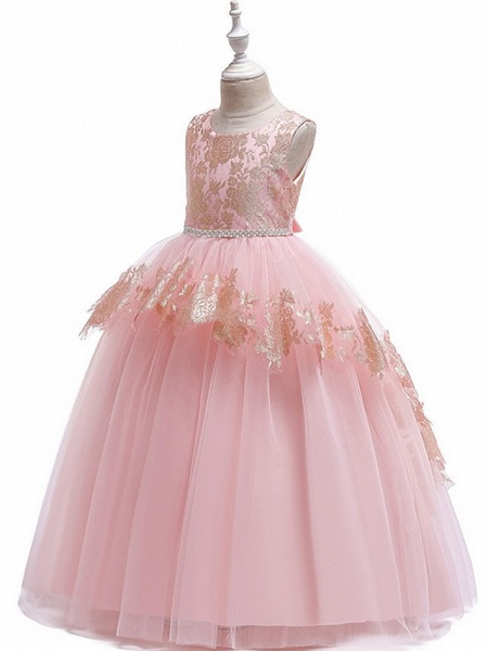 Ball Gown Floor Length Pageant Flower Girl Dresses - Tulle Sleeveless Jewel Neck With Lace / Bow(S)_1