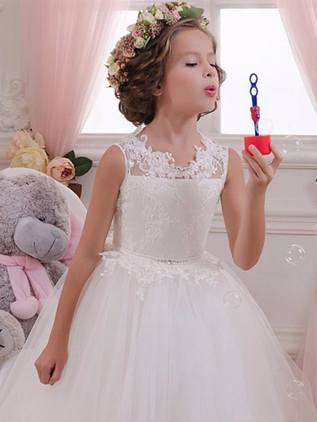 Princess Maxi Wedding / Birthday / First Communion Flower Girl Dresses - Lace / Tulle / Cotton Sleeveless Scalloped Neckline With Lace / Appliques / Crystals / Rhinestones_3