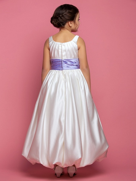 Princess / A-Line Ankle Length Satin Sleeveless Square Neck With Sash / Ribbon / Ruched / Side Draping_3