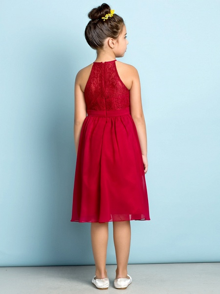 A-Line Jewel Neck Knee Length Chiffon / Lace Junior Bridesmaid Dress With Lace / Natural / Mini Me_5
