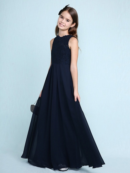 Sheath / Column Scoop Neck Floor Length Chiffon / Lace Junior Bridesmaid Dress With Lace / Natural_4