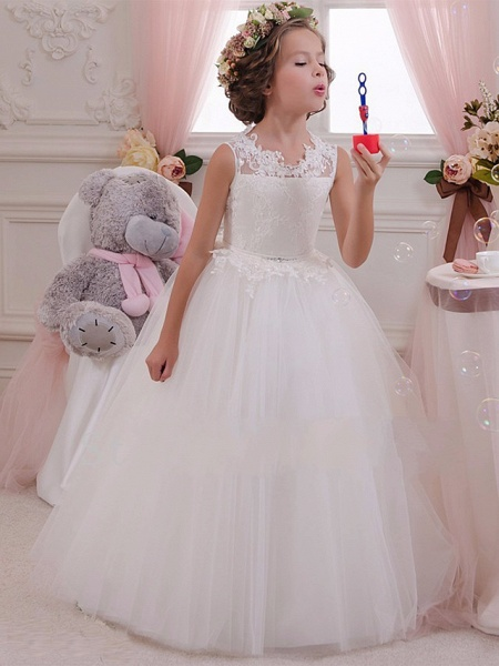 Princess Maxi Wedding / Birthday / First Communion Flower Girl Dresses - Lace / Tulle / Cotton Sleeveless Scalloped Neckline With Lace / Appliques / Crystals / Rhinestones_1