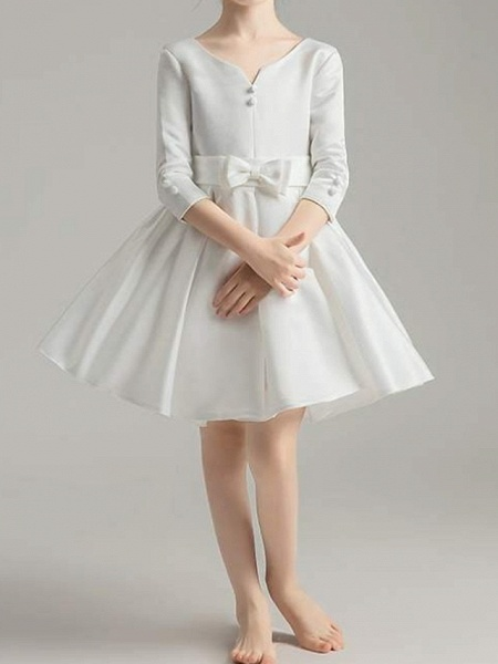 A-Line Knee Length First Communion Flower Girl Dresses - Polyester 3/4 Length Sleeve V Neck With Bow(S) / Pleats_7