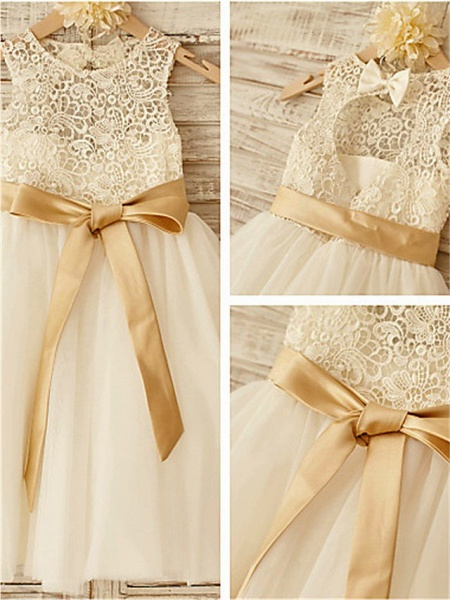 A-Line Jewel Neck Knee Length Lace / Tulle Junior Bridesmaid Dress With Lace / Sash / Ribbon / Bow(S) / First Communion_2