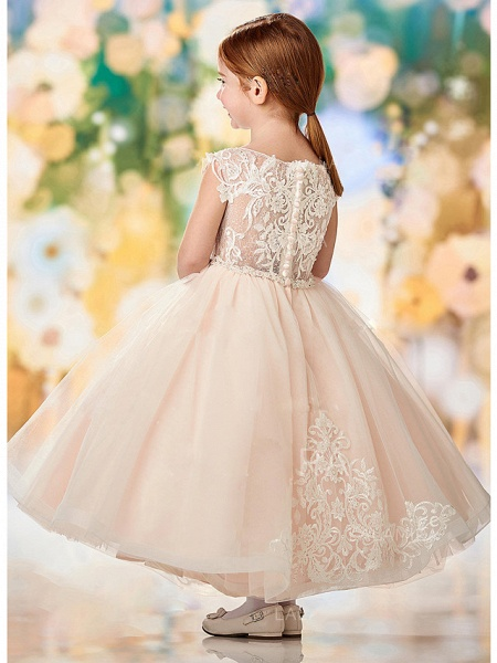 A-Line Ankle Length Wedding / Party Flower Girl Dresses - Lace / Tulle Sleeveless Jewel Neck With Embroidery / Appliques_2