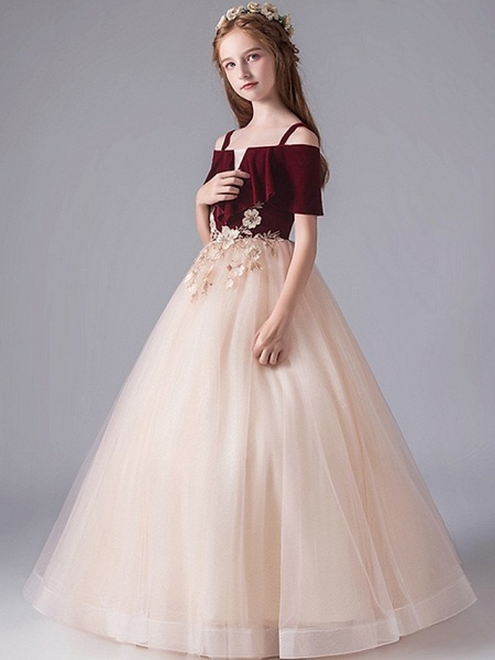 A-Line Floor Length Party / Pageant Flower Girl Dresses - Polyester Short Sleeve Spaghetti Strap With Appliques_1