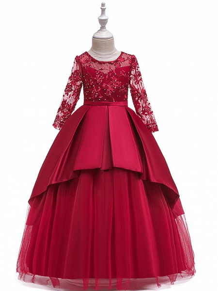 Ball Gown / A-Line Maxi Wedding / Formal Evening / Pageant Flower Girl Dresses - Cotton Blend / Lace 3/4 Length Sleeve Jewel Neck With Lace / Sash / Ribbon / Pleats_1