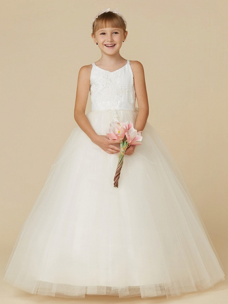 Princess Floor Length Wedding / First Communion / Pageant Flower Girl Dresses - Lace / Tulle Sleeveless Spaghetti Strap With Bow(S) / Appliques_5