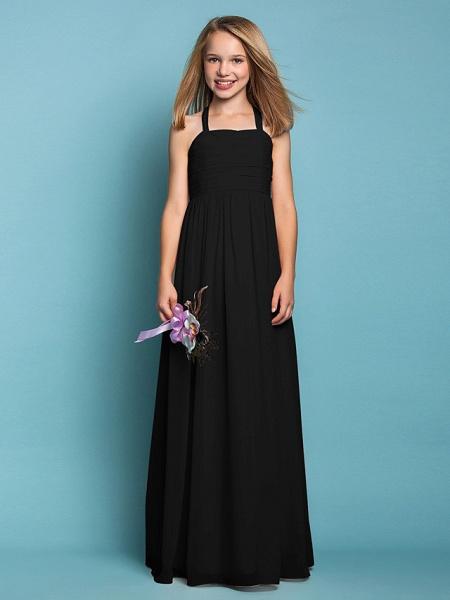 Sheath / Column Halter Neck Floor Length Chiffon Junior Bridesmaid Dress With Ruched / Spring / Summer / Fall / Apple / Hourglass_39