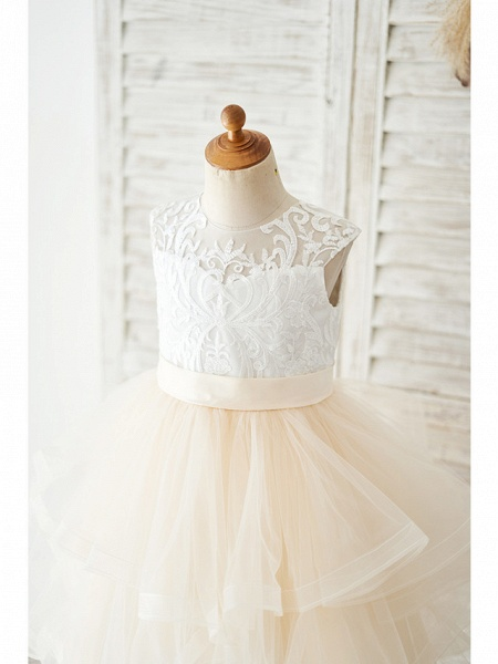 Ball Gown Knee Length Wedding / Birthday Flower Girl Dresses - Lace / Tulle Sleeveless Jewel Neck With Belt / Tiered_3