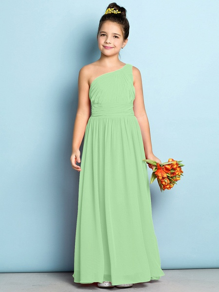 A-Line One Shoulder Ankle Length Chiffon Junior Bridesmaid Dress With Side Draping / Natural / Mini Me_28