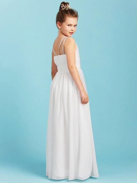 Princess / A-Line Spaghetti Strap Floor Length Chiffon Junior Bridesmaid Dress With Sash / Ribbon / Criss Cross / Wedding Party / Open Back_2