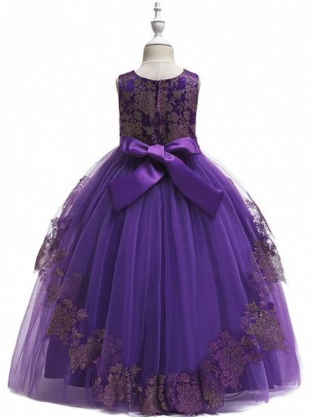 Princess Floor Length Wedding / Party / Pageant Flower Girl Dresses - Lace / Satin / Tulle Sleeveless Jewel Neck With Belt / Crystals / Beading_7