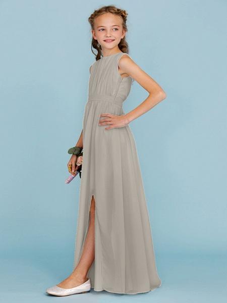 Sheath / Column Crew Neck Floor Length Chiffon Junior Bridesmaid Dress With Sash / Ribbon / Draping / Split Front / Wedding Party / Furcal_12