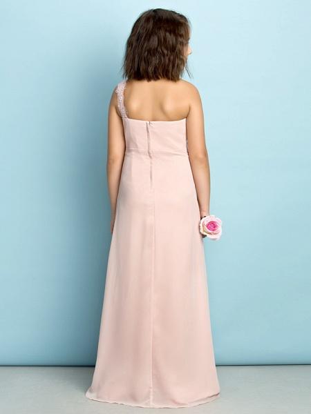 Princess One Shoulder Floor Length Chiffon Junior Bridesmaid Dress With Crystals / Side Draping / Natural / Mini Me_5