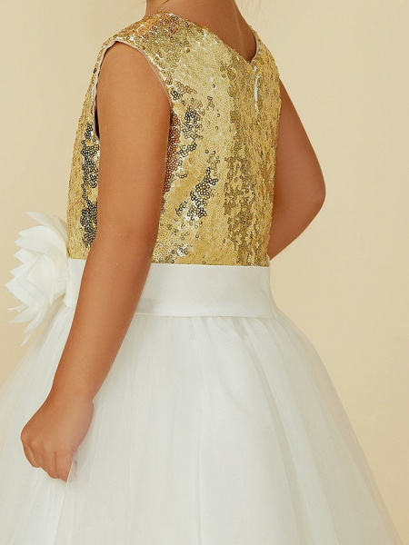 Princess Knee Length Pageant Flower Girl Dresses - Tulle / Sequined Sleeveless Jewel Neck With Sash / Ribbon / Bow(S) / Flower_9
