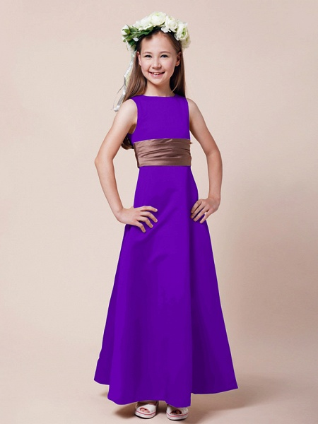 Princess / A-Line Bateau Neck Floor Length Satin Junior Bridesmaid Dress With Sash / Ribbon / Ruched / Spring / Summer / Fall / Winter / Apple_34