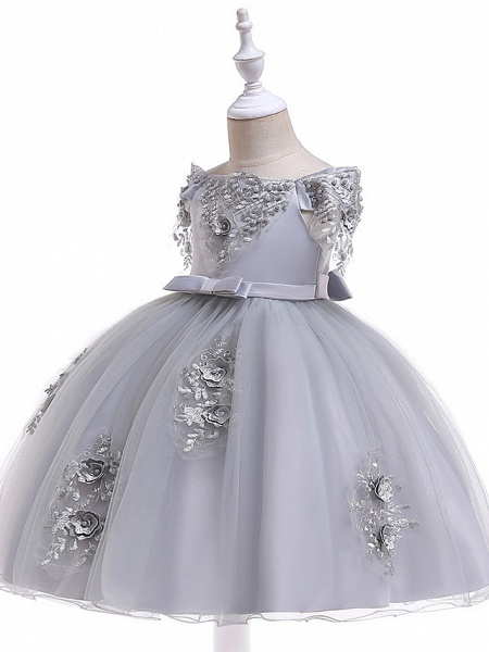 Princess Above Knee Wedding / Party / Pageant Flower Girl Dresses - Satin / Tulle Short Sleeve Off Shoulder With Lace / Beading / Appliques_11