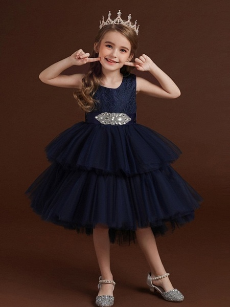 Princess / Ball Gown Asymmetrical Wedding / Party Flower Girl Dresses - Lace / Tulle Sleeveless Jewel Neck With Belt / Bow(S) / Tier_5