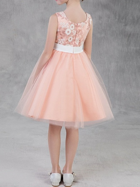 A-Line Knee Length Pageant Flower Girl Dresses - Polyester Sleeveless Jewel Neck With Appliques_5