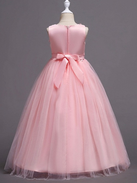 Princess / Ball Gown Floor Length Wedding / Party Flower Girl Dresses - Tulle Sleeveless Jewel Neck With Bow(S) / Appliques_7