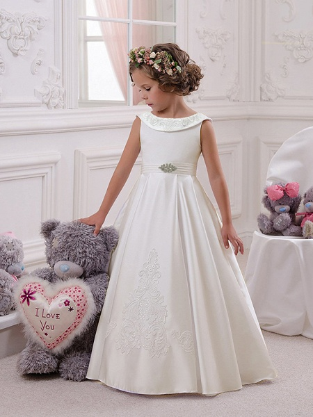 Princess Floor Length Christmas / Birthday / First Communion Flower Girl Dresses - Mikado / Cotton Sleeveless Boat Neck With Appliques / Crystals / Rhinestones_1