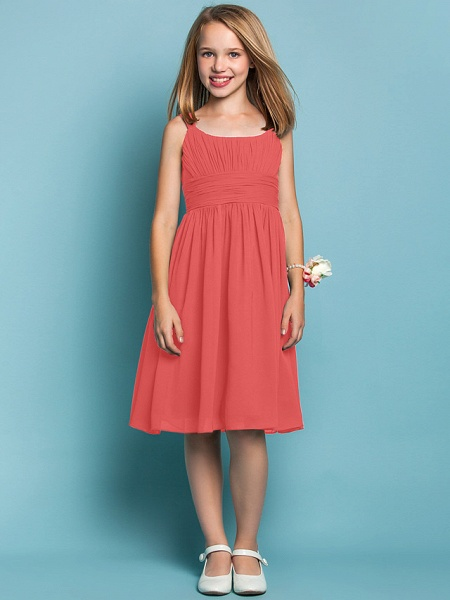 Sheath / Column Straps Knee Length Chiffon Junior Bridesmaid Dress With Ruched / Draping / Spring / Summer / Fall / Apple / Hourglass_12