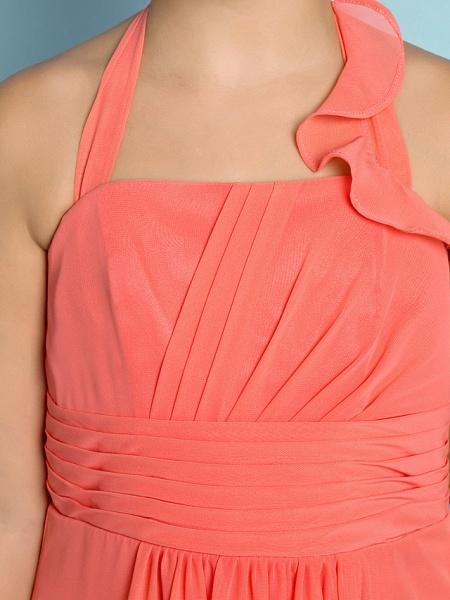Sheath / Column Halter Neck Ankle Length Chiffon Junior Bridesmaid Dress With Side Draping / Natural / Mini Me_9