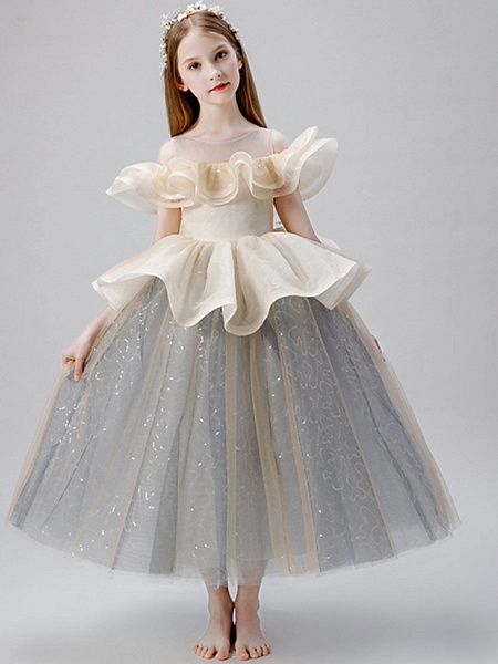 A-Line Floor Length Party / Birthday Flower Girl Dresses - Satin / Tulle Sleeveless Jewel Neck With Ruffles / Paillette_2