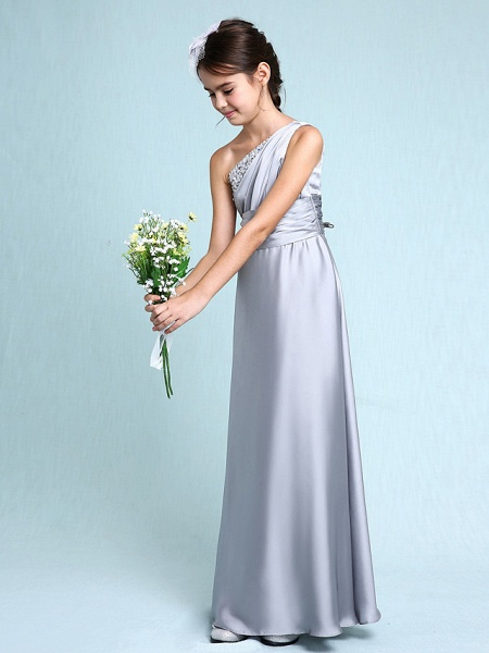 Sheath / Column One Shoulder Floor Length Chiffon Satin Junior Bridesmaid Dress With Ruched / Side Draping / Natural_4