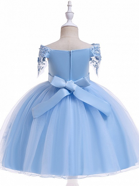 Princess Above Knee Wedding / Party / Pageant Flower Girl Dresses - Satin / Tulle Short Sleeve Off Shoulder With Lace / Beading / Appliques_14