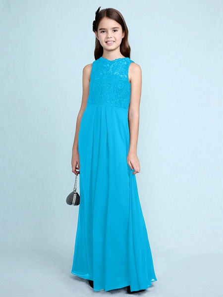 Sheath / Column Scoop Neck Floor Length Chiffon / Lace Junior Bridesmaid Dress With Lace / Natural_35