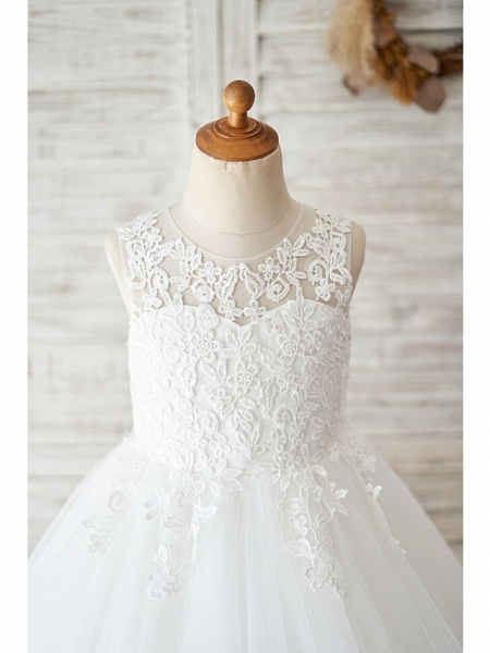 Ball Gown Knee Length Wedding / Birthday Flower Girl Dresses - Lace / Tulle Sleeveless Jewel Neck With Lace_3