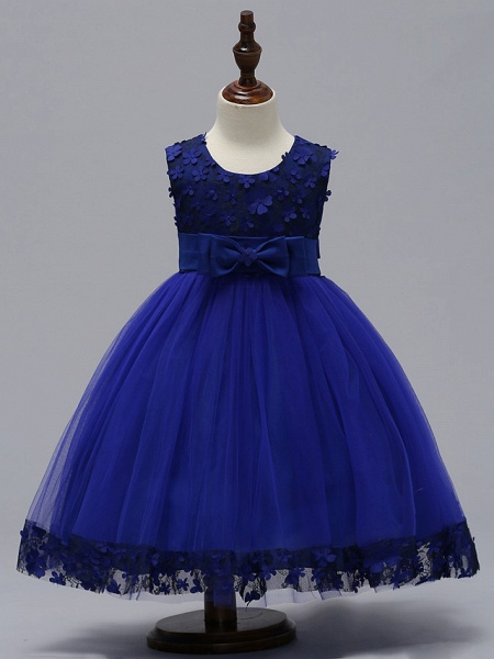 Ball Gown Knee Length Wedding / Party Flower Girl Dresses - Tulle Sleeveless Jewel Neck With Bow(S)_8