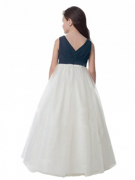 A-Line Floor Length Wedding / Party Flower Girl Dresses - Chiffon / Tulle Sleeveless V Neck With Ruching_2