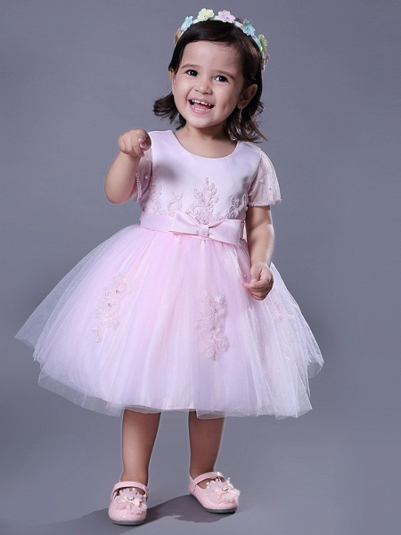Ball Gown Royal Length Train / Medium Length Wedding / Party Flower Girl Dresses - Satin / Tulle Short Sleeve Jewel Neck With Beading / Appliques / Butterfly_2