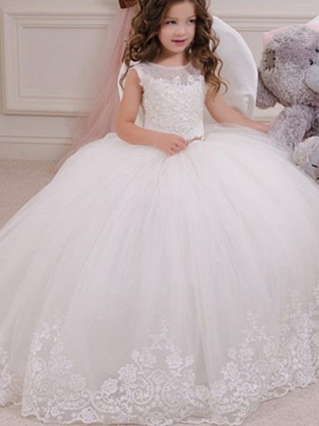 Ball Gown Floor Length Event / Party / Birthday Flower Girl Dresses - Polyester Sleeveless Jewel Neck With Appliques_1