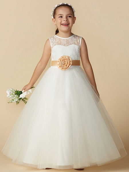 Princess Ankle Length Wedding / First Communion Flower Girl Dresses - Lace / Tulle Sleeveless Jewel Neck With Sash / Ribbon / Bow(S) / Flower_1