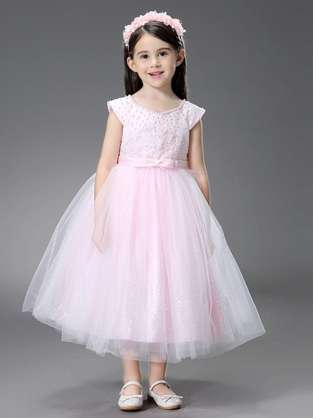 Princess / Ball Gown Ankle Length / Royal Length Train Wedding / Event / Party Flower Girl Dresses - Satin / Tulle Sleeveless Square Neck With Beading / Ruffles / Appliques_2