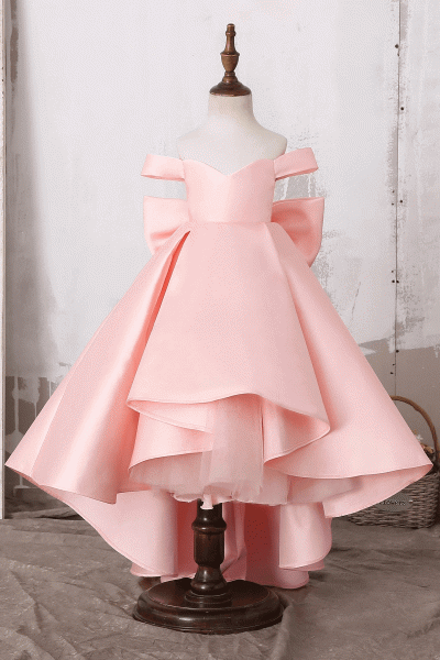 Off The Shoulder Cute Bow Ruffles Flower Girl Dress_2