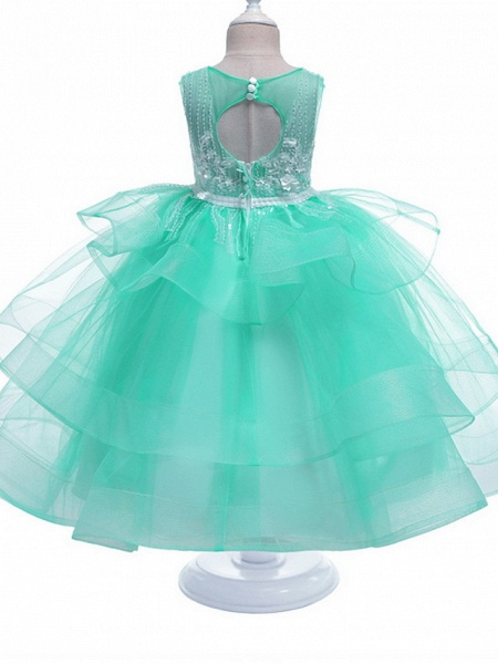 Princess Maxi Pageant Flower Girl Dresses - Polyester Sleeveless Jewel Neck With Bow(S) / Embroidery_7