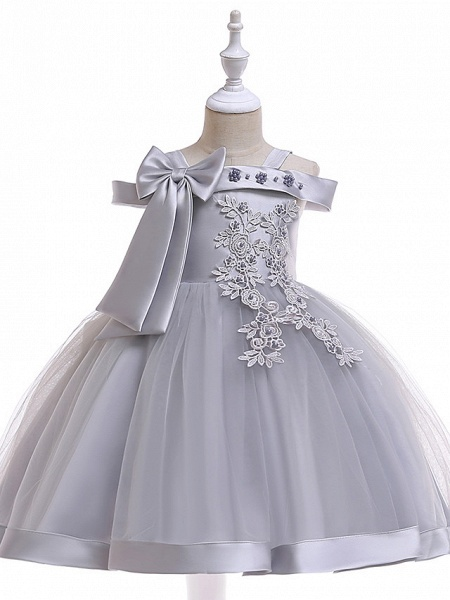 A-Line Knee Length Wedding / Birthday / Pageant Flower Girl Dresses - Tulle Sleeveless Spaghetti Strap With Faux Pearl / Petal / Lace_1